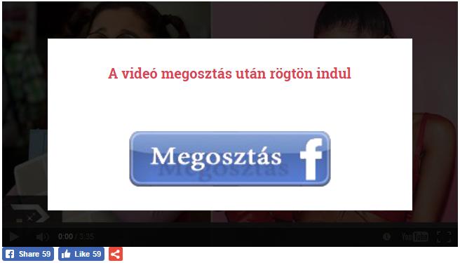 A dosszie.com oldal először Facebook megosztást kér